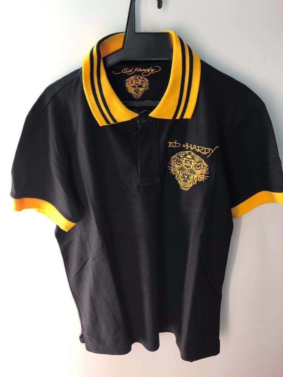 camisa polo ed hardy christian audigier masculina blk yellow. Carregando  zoom. 52750a873875e