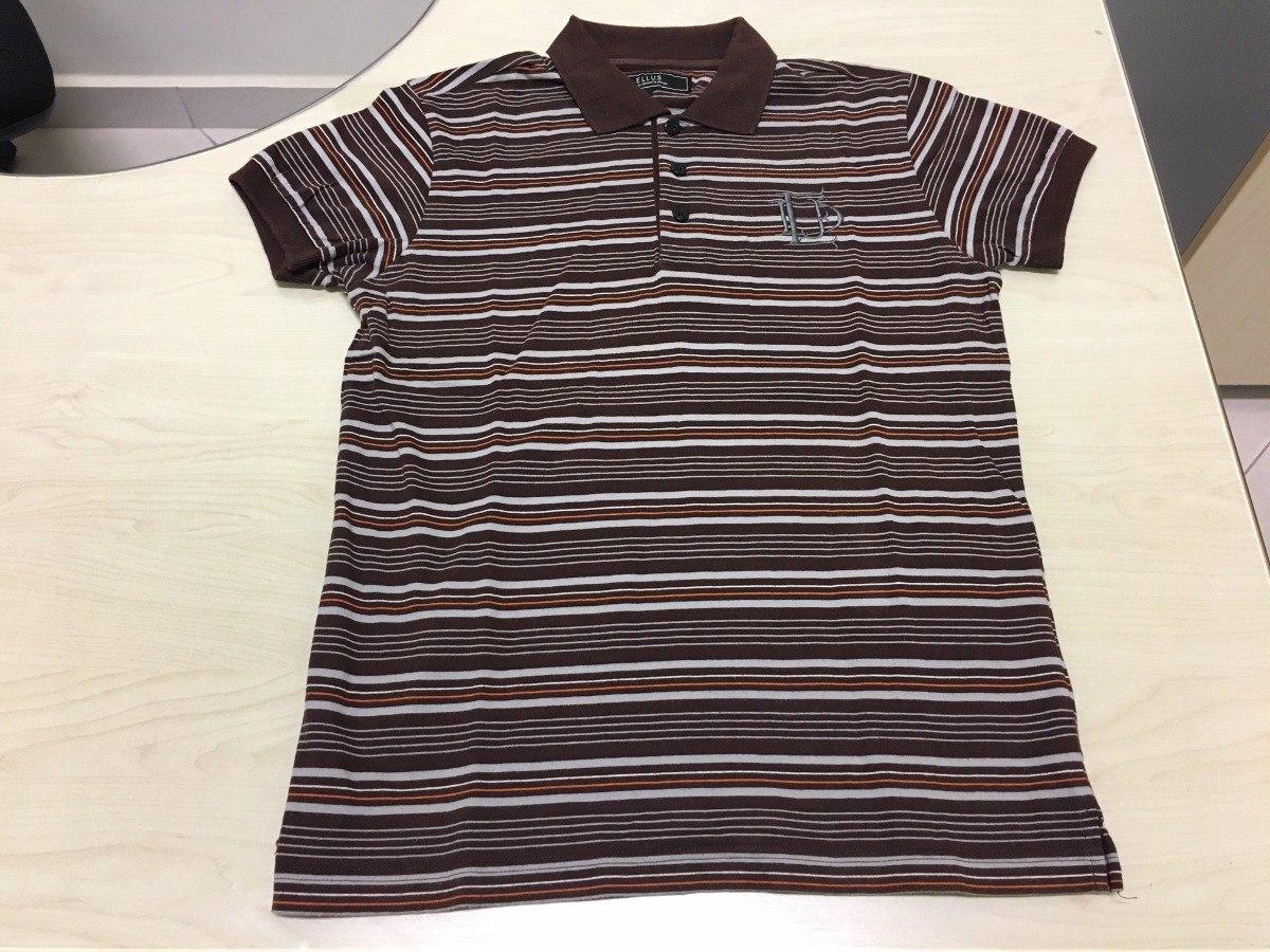6bd62d0da Camisa Polo Ellus Original Marrom E Cinza Listrada - R$ 39,90 em ...