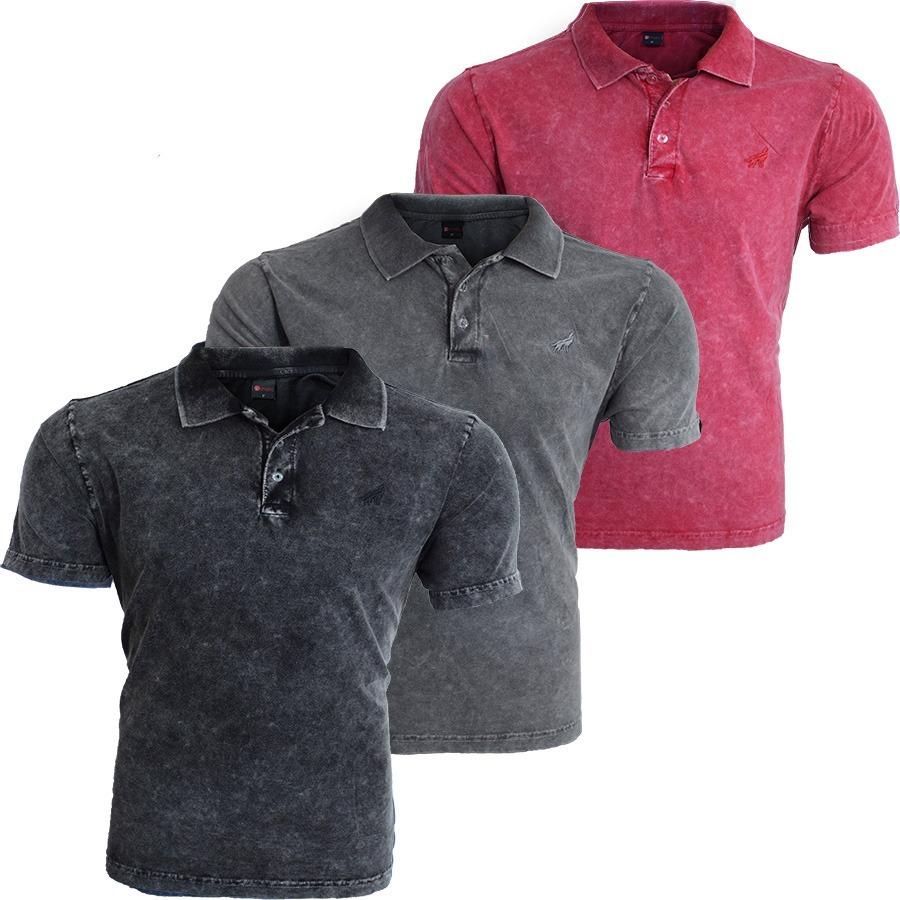 38aa9b24ff81a camisa polo estonada preto cinza vermelho kit 3 peças. Carregando zoom.
