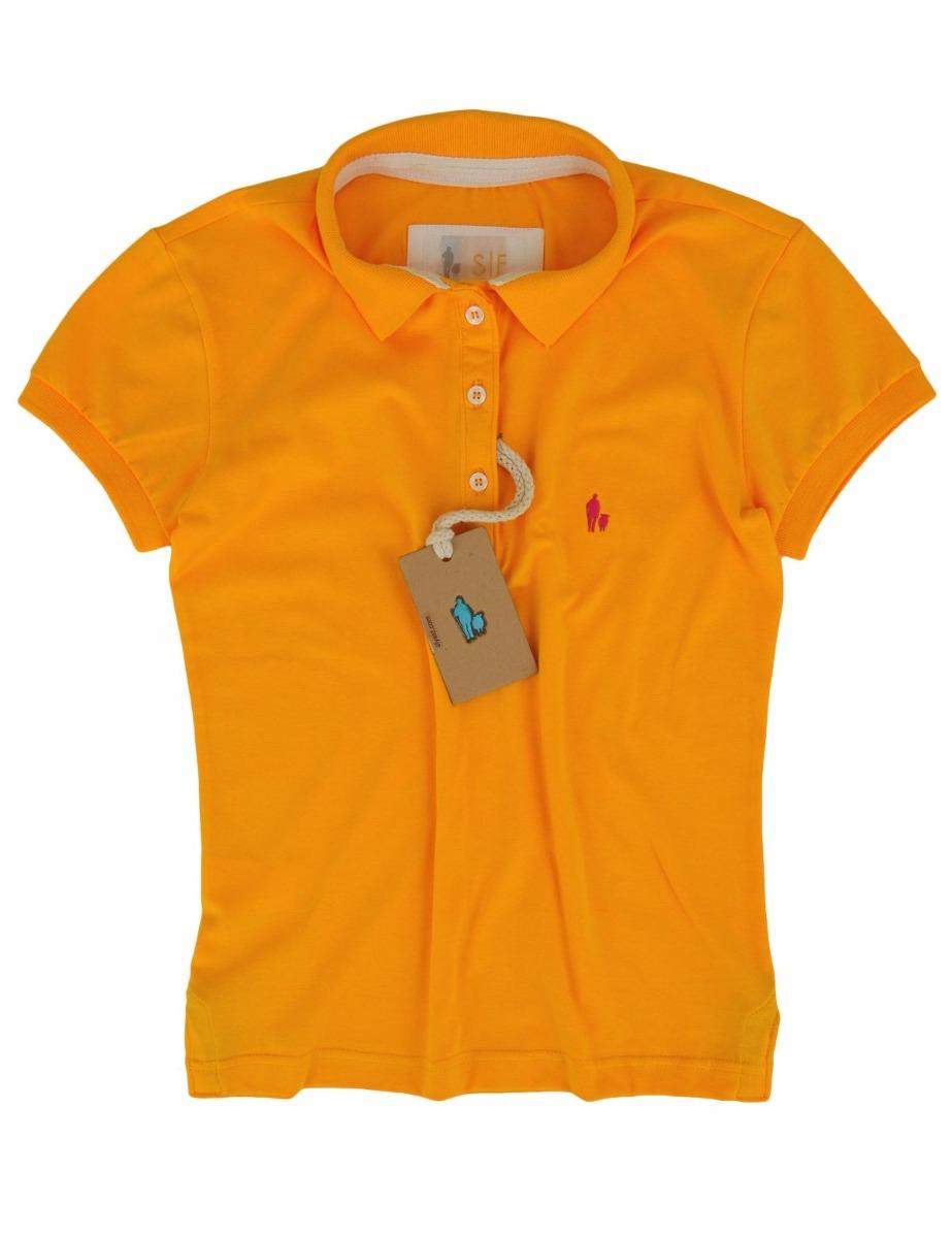 dcda461df51c1 camisa polo feminina amarela fio 30 com abertura colorida. Carregando zoom.