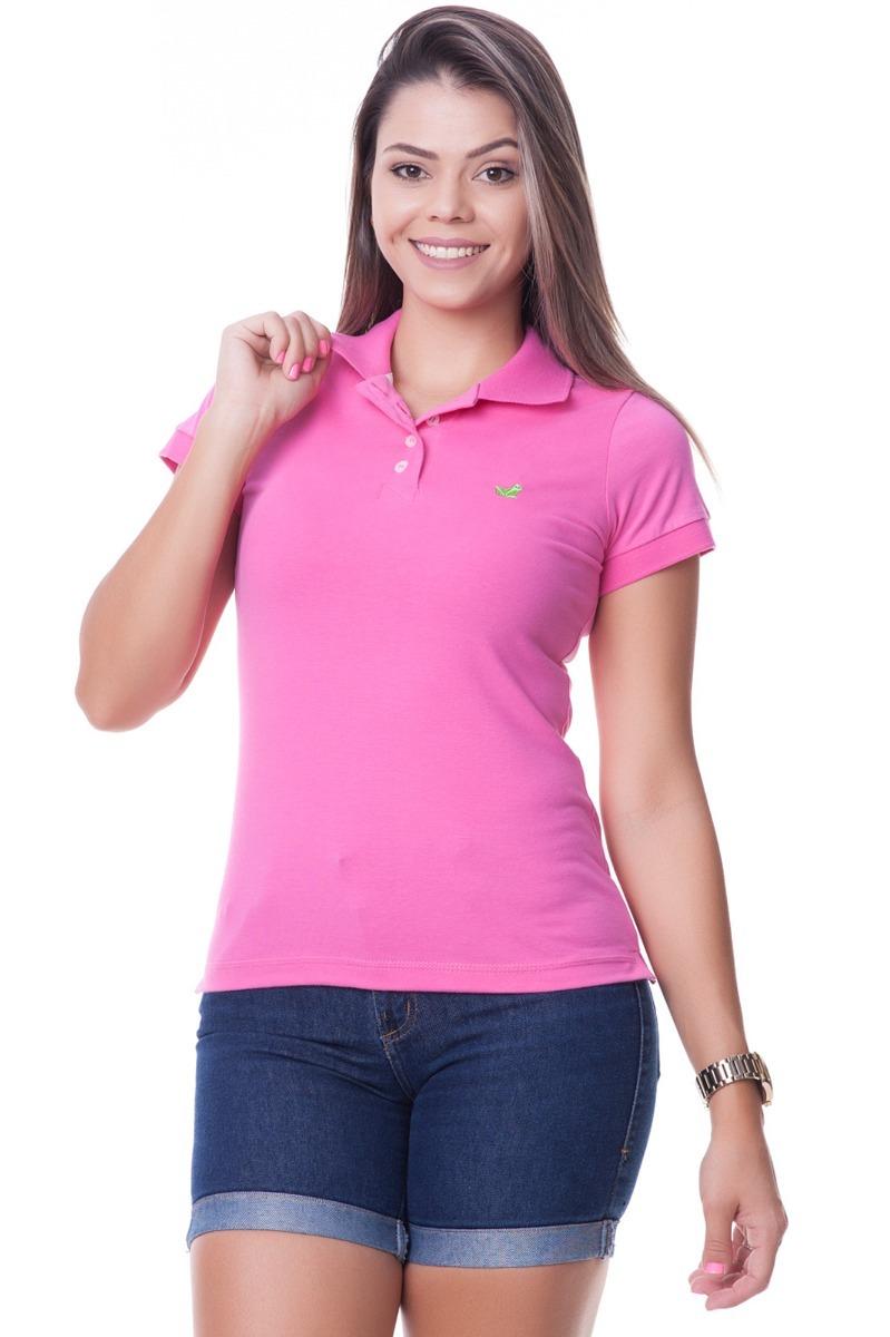 camisa polo feminina aveludada cor rosa. Carregando zoom. bced8cc43cf54