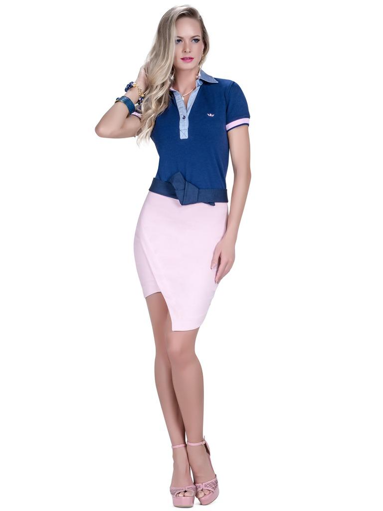 f16c5bd522 camisa pólo feminina azul marinho principessa nicole. Carregando zoom.