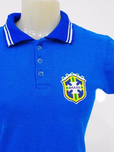 Camisa Polo Feminina Brasil Seleção Brasileira Baby Look - R  15 ebb2f3cc21746