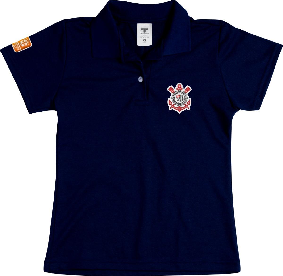 camisa polo feminina corinthians baby look especial preto. Carregando zoom. 9cd3cda748ba9