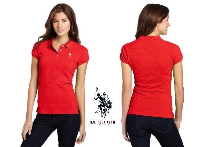 fd10b6c4d65ba Camisa Polo Feminina Junior U.s. Polo Assn. Vermelha - R  49