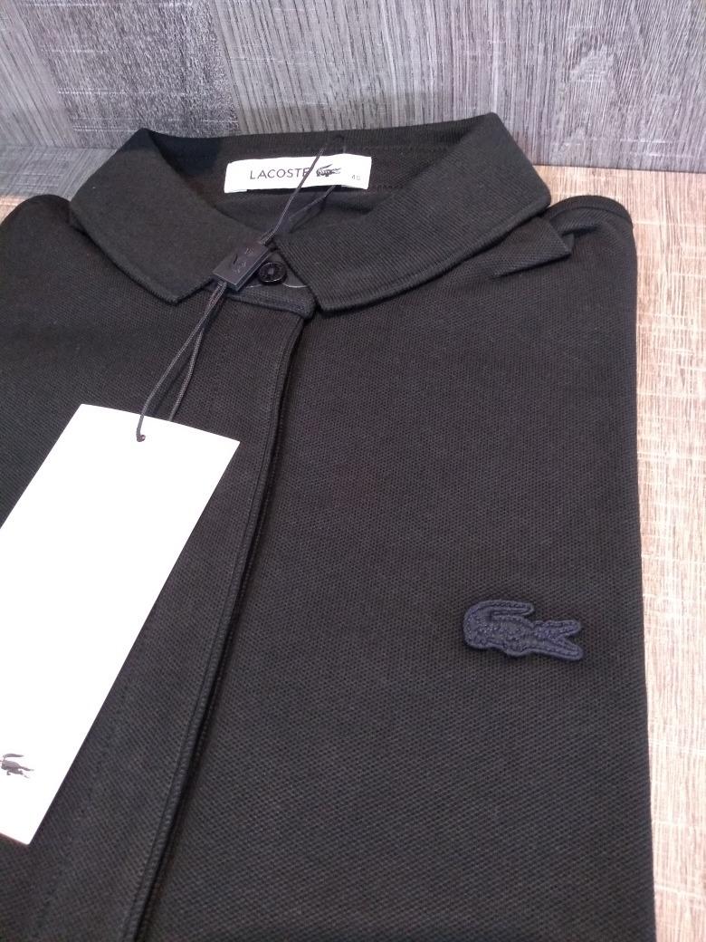 048190bf943f5 camisa polo feminina lacoste preta manga 3 4 - original. Carregando zoom.