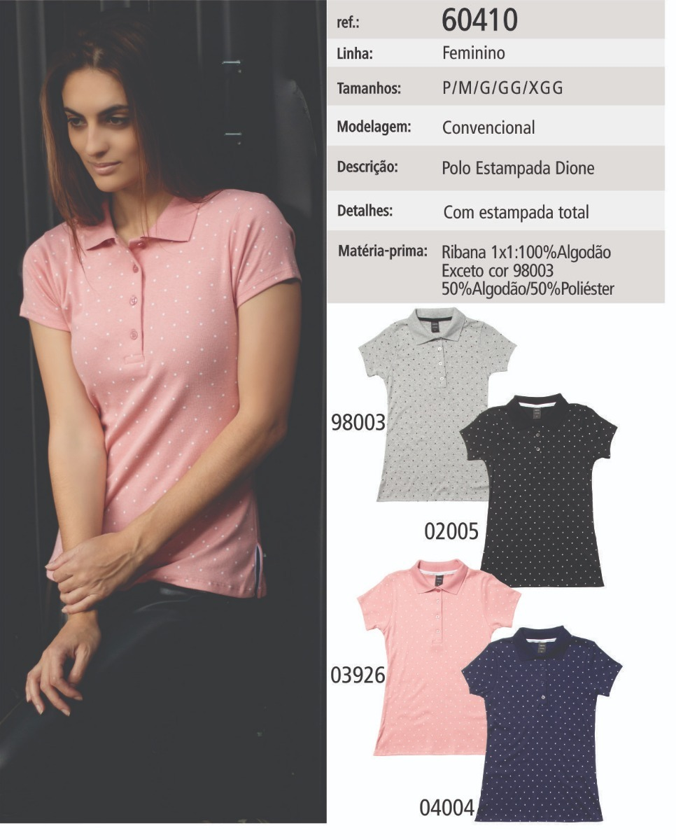 55b14ac1f8 Características. Marca SG WOMAN  Modelo Camisa Pólo Feminina Manga Curta  Sem Bolso ...