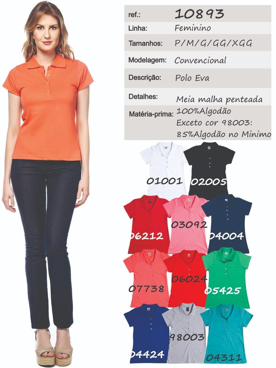 Camisa Pólo Feminina Manga Curta Sem Bolso - Ref. 10893 - R  44 fb3fa31e276