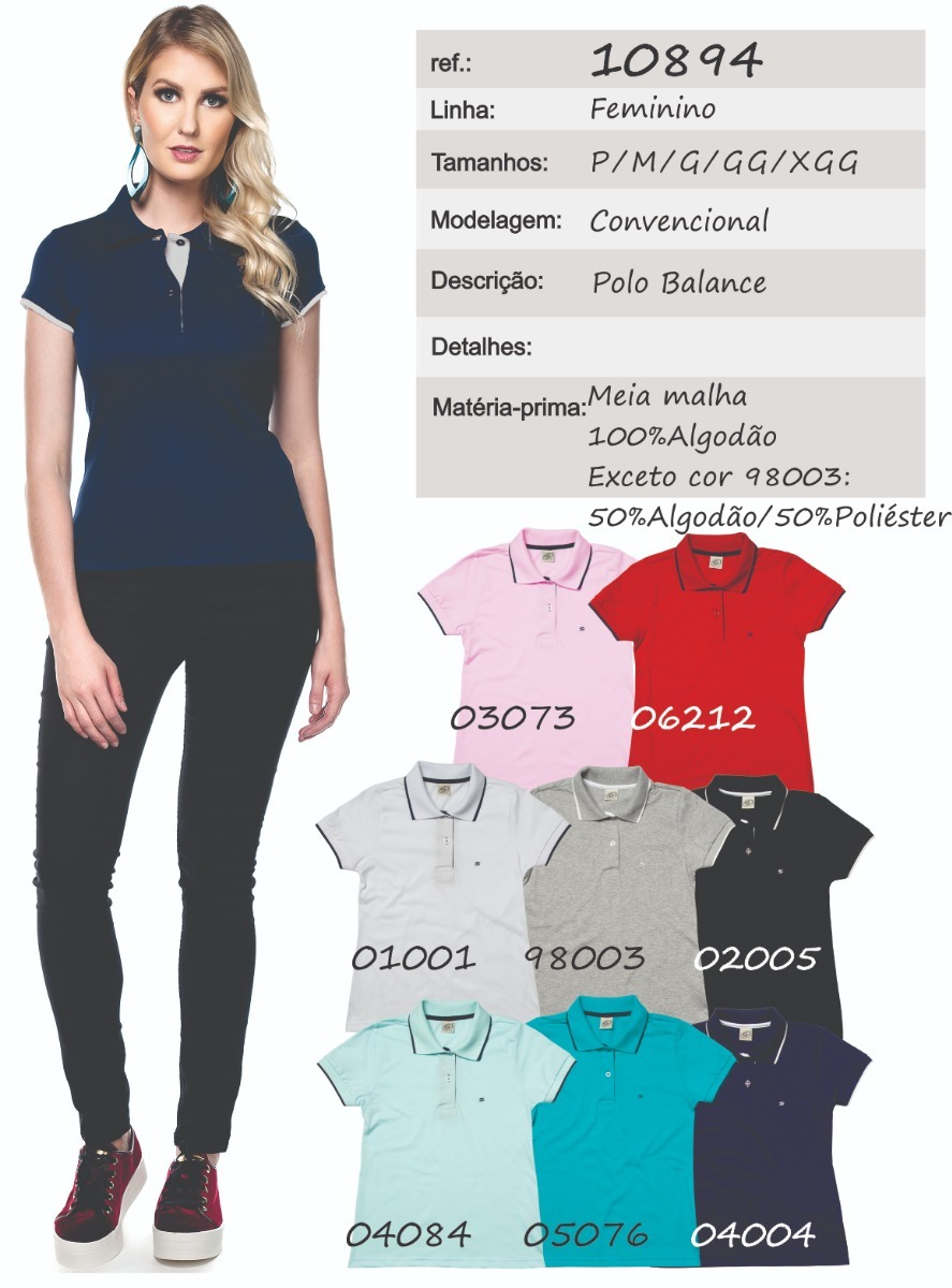 2c5d4cc373522 camisa pólo feminina manga curta sem bolso - ref. 10894. Carregando zoom.
