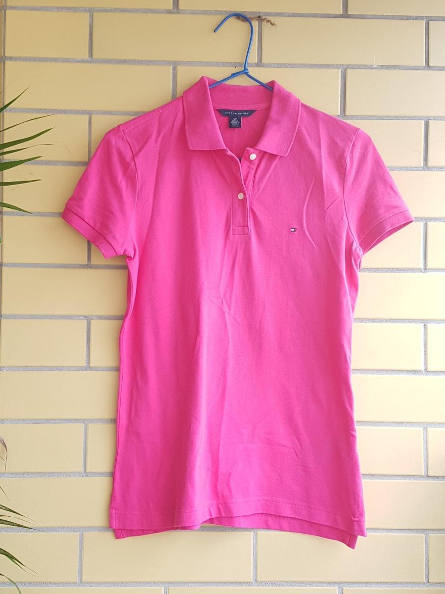 d89b940693 camisa polo feminina tommy hilfiger p 40 cor de rosa usada. Carregando zoom.