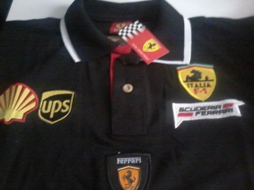 camisa polo   ferrari gola dupla  preta - cod 039