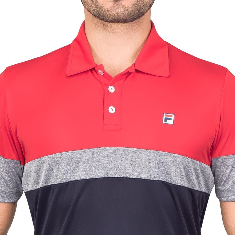camisa polo fila block melange vermelha marinho e cinza. Carregando zoom. d42fb27736df9