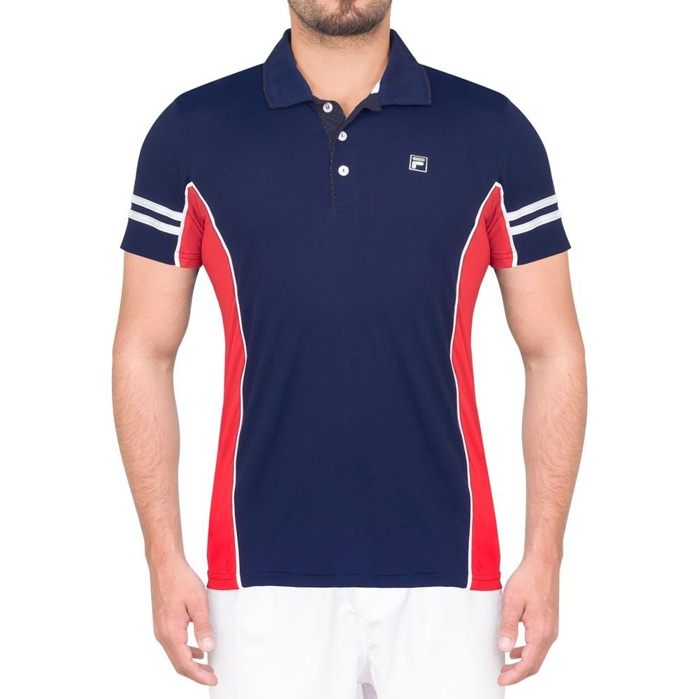 Camisa Polo Fila New Heritage Marinho E Vermelho - R  99 2b96364d72a25