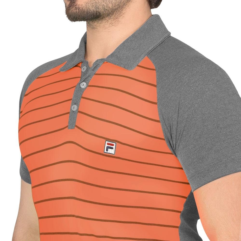 90905e36db6ad camisa polo fila wolf iii laranja e cinza. Carregando zoom.