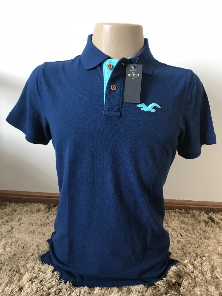camisa pólo hollister azul masculina original importada. Carregando zoom. 94f82d1548