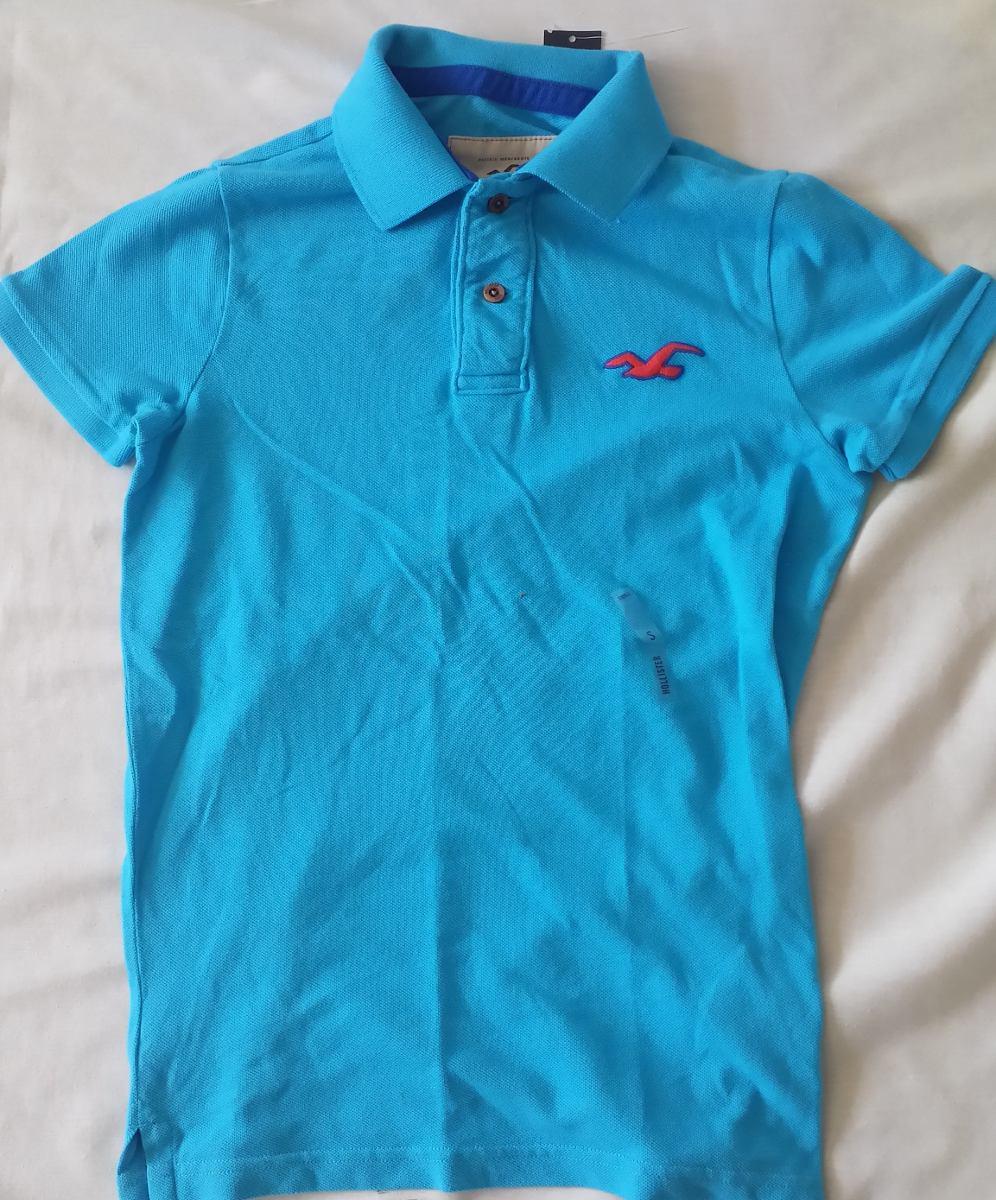 Camisa Polo Hollister Masculina - Adulto - Azul Claro - R  89 324d1eca02e44