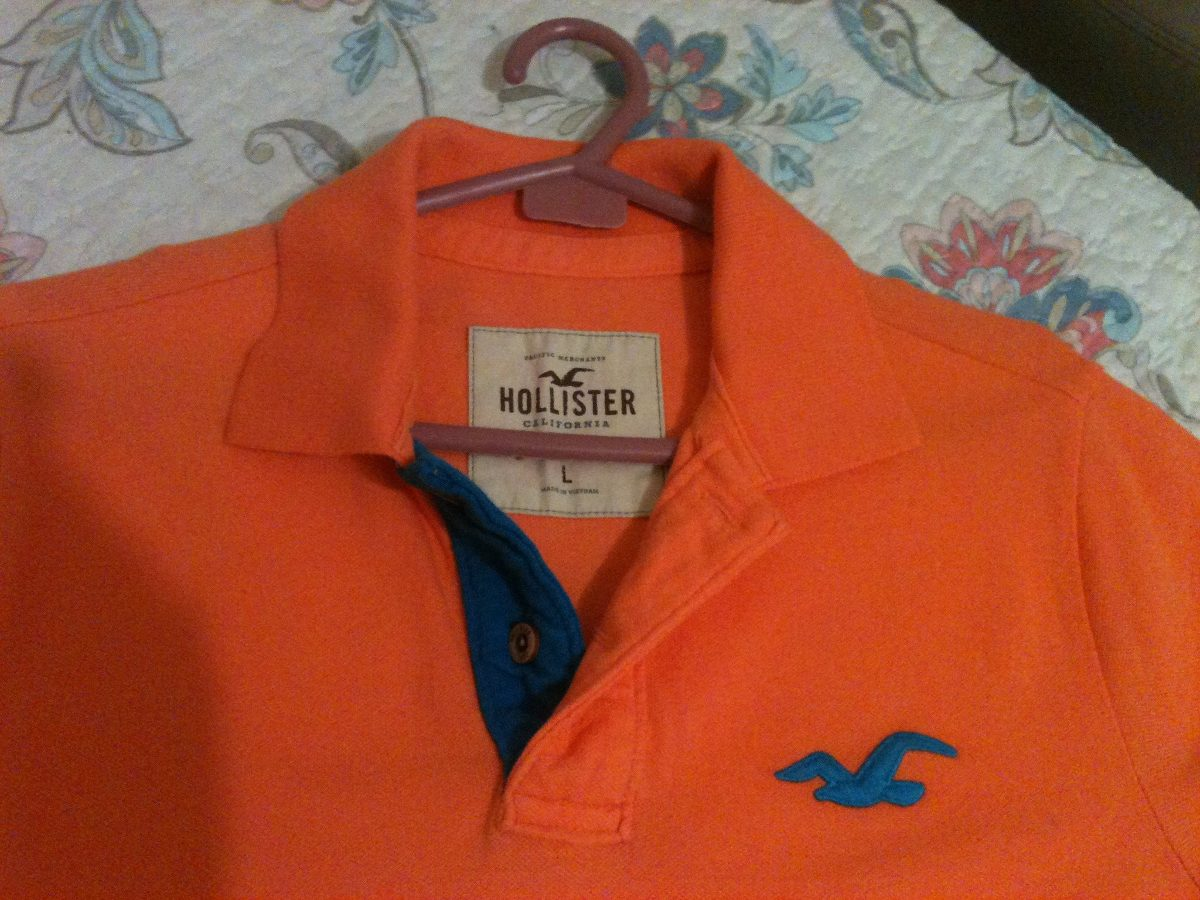 9bc2038ca camisa polo hollister original - cor laranja. Carregando zoom.