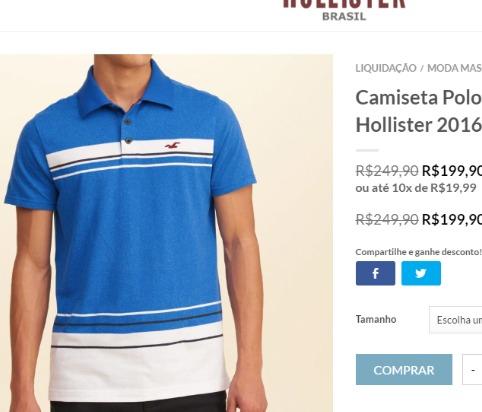 d969d098b21 Camisa Polo Importada Da Loja Oficial Hollister Usa - R  77