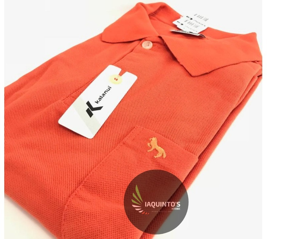 d9d4b32348e27 Camisa Polo Kalanuí Pique Lisa Laranja Com Bolso - R  52