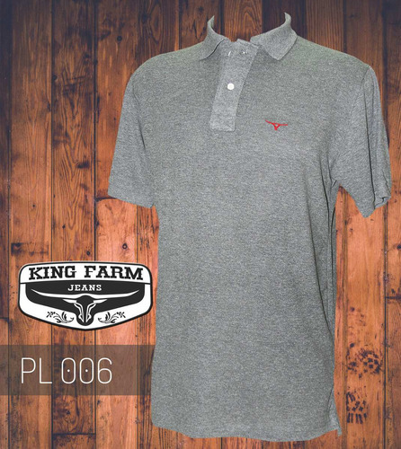 camisa polo king farm cinza - pl006