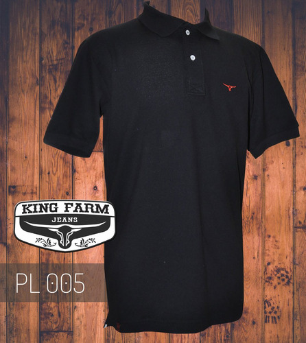 camisa polo king farm preto pl005