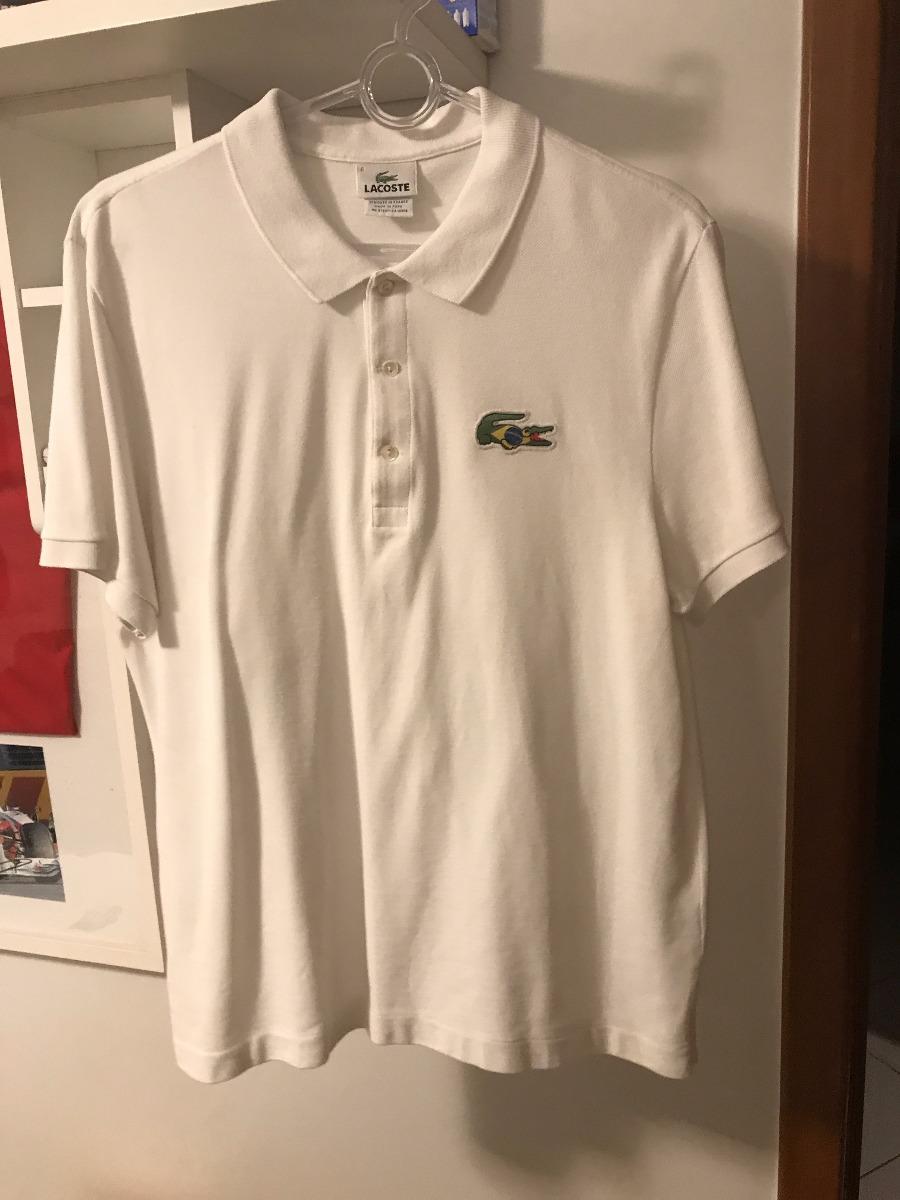 Camisa Polo Lacoste Branca Brasil Logo Original Tam G - R  159,00 em ... 56b2e431a6