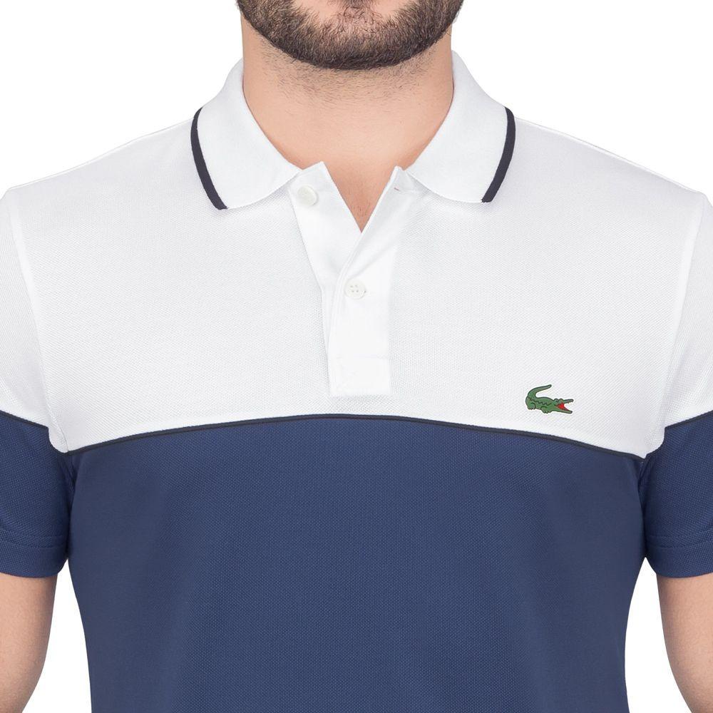 07150263d camisa polo lacoste fancy golf branco e azul. Carregando zoom.