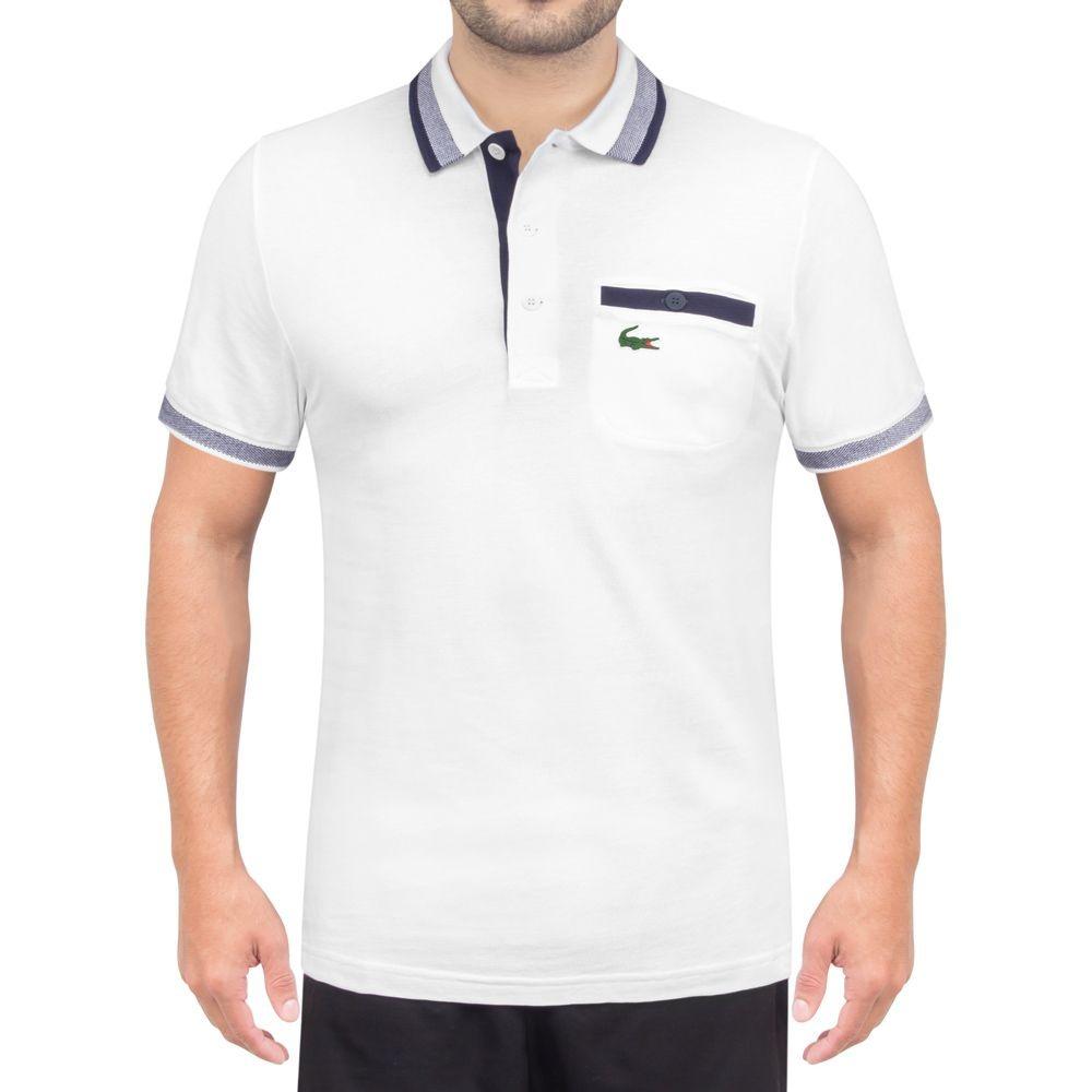 437459009db camisa polo lacoste fancy golf lifestyle branca e marinho. Carregando zoom.