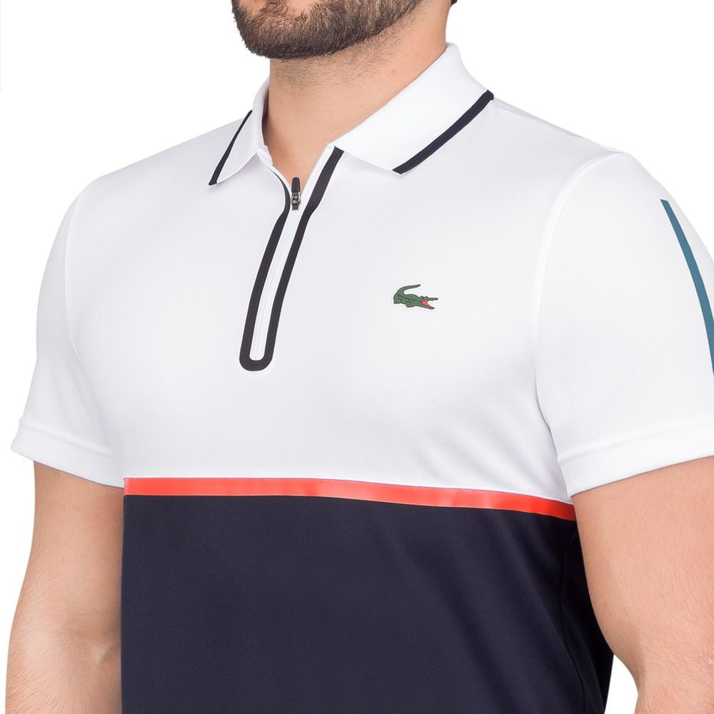 986535f42a3 camisa polo lacoste fancy tennis branca e marinho. Carregando zoom.