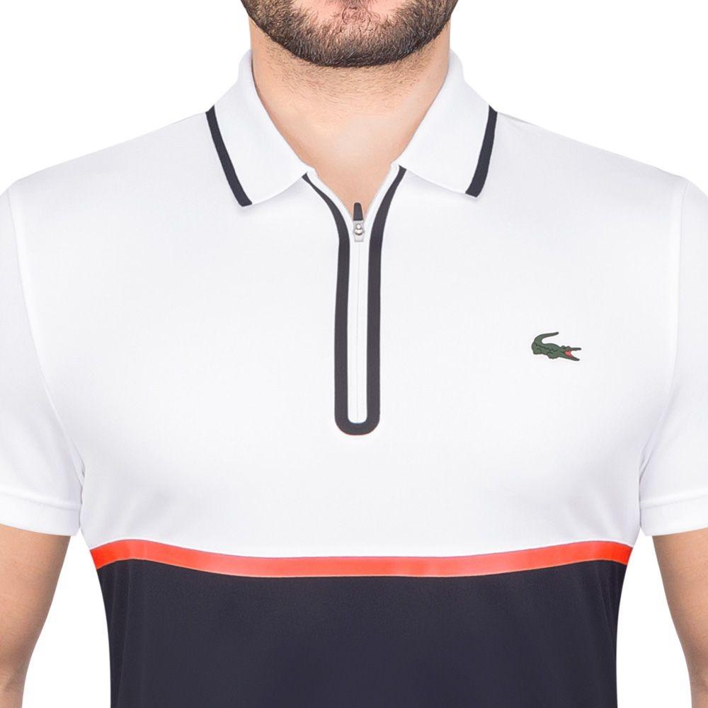 Camisa Polo Lacoste Fancy Tennis Branca E Marinho - R  359,90 em ... f10b92fa1c