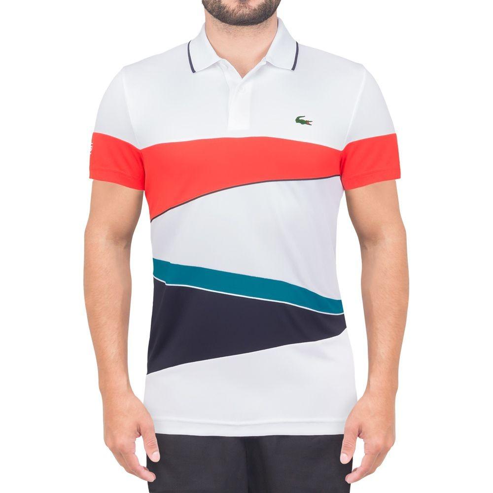 36c45b3484a camisa polo lacoste fancy tennis branca laranja verde e mari. Carregando  zoom.
