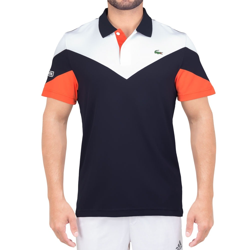 adf01e89e2f camisa polo lacoste fancy tennis dh7983 marinho branca e lar. Carregando  zoom.