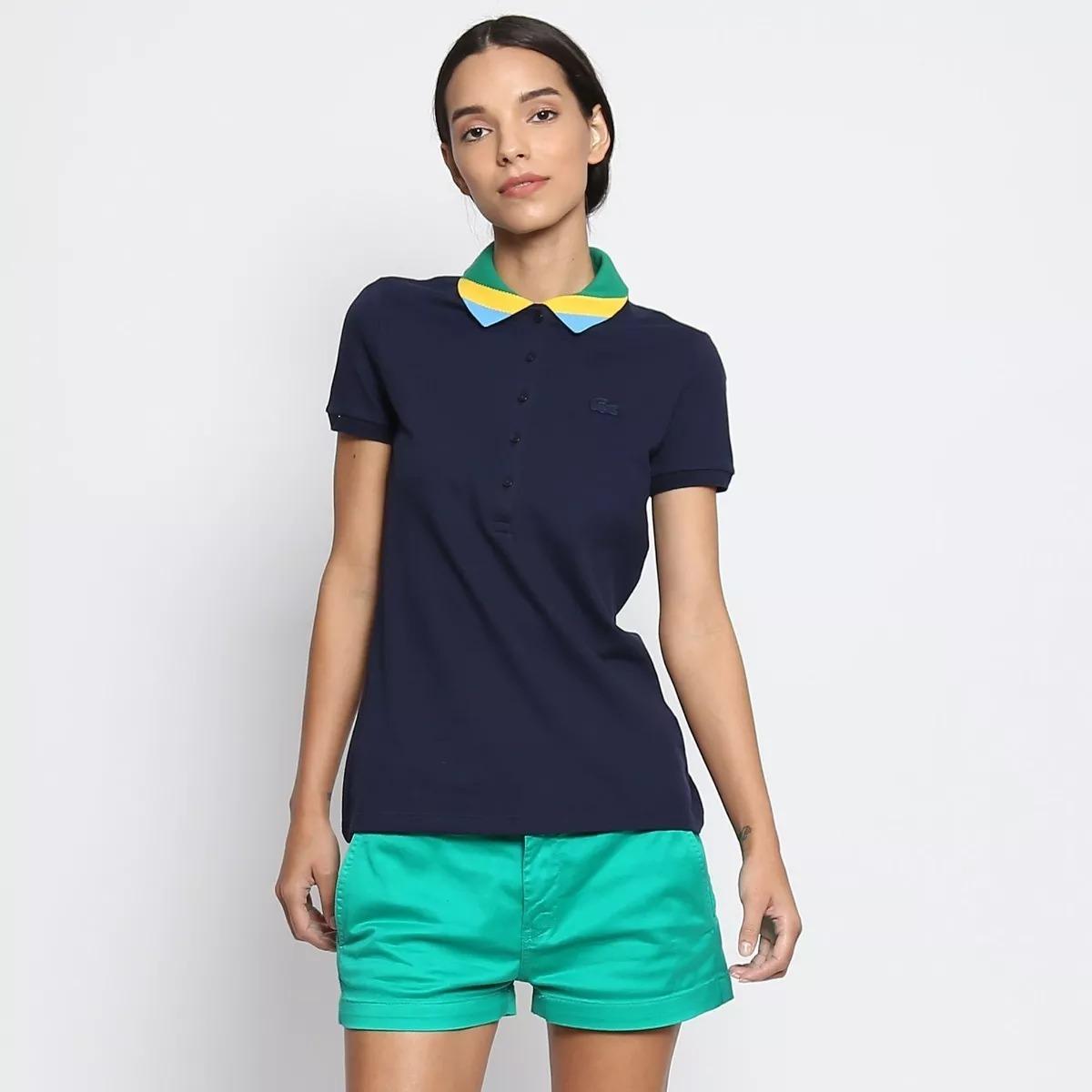Camisa Polo Lacoste Feminina Em Piquê Bandeira - R  230,00 em ... d4a51ca756