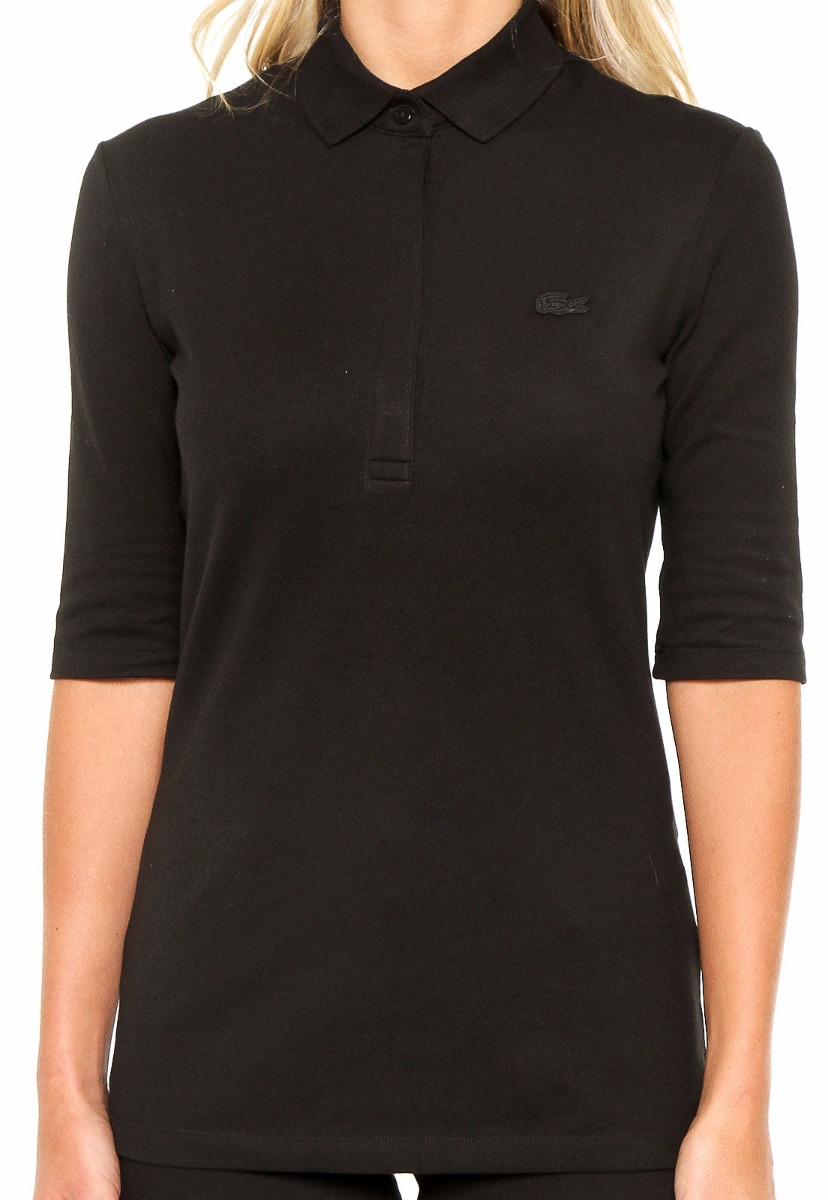 camisa polo lacoste feminina unicolor com manga três quartos. Carregando  zoom. 1a61172e89