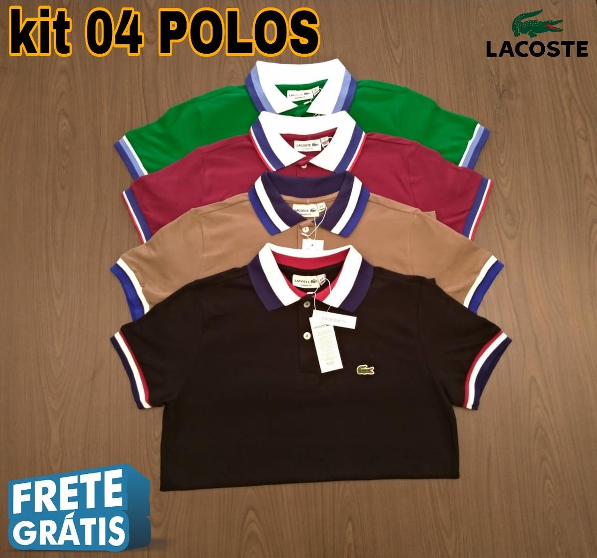 0c6cca62cbc3d Camisa Polo Lacoste Fit Kit De 4 Importadas Peruanas - R  316,00 em ...