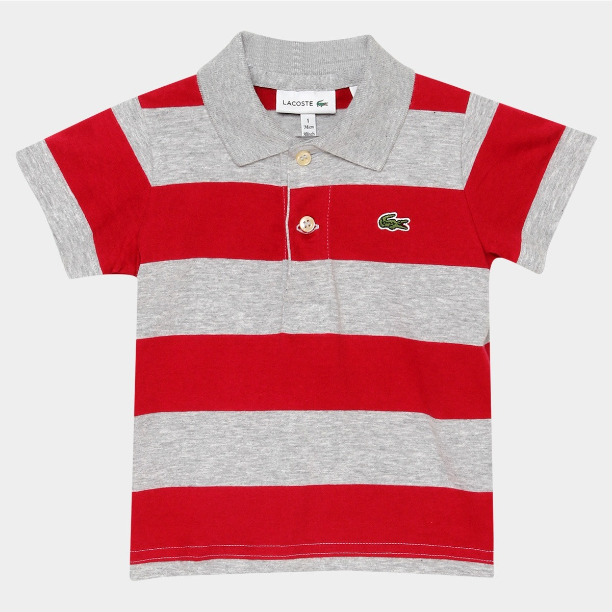 Camisa Polo Lacoste Infantil Listras Cinza   Vermelha - R  159,99 em ... b3affd0802