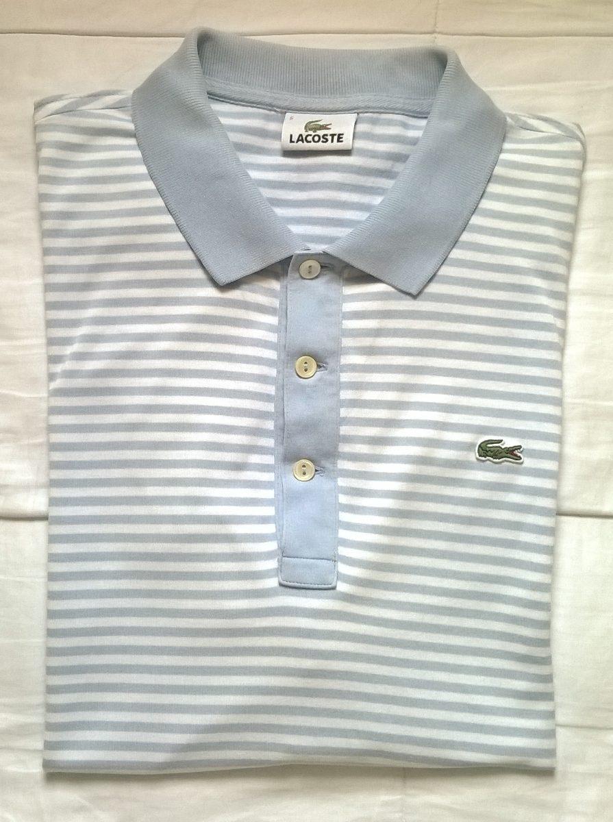 Camisa Polo Lacoste Listrada Azul Original R 50 00 Em Mercado Livre
