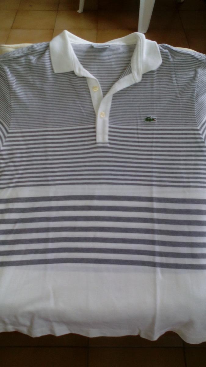 8b63d29409251 camisa polo lacoste listrada de branco e cinza. manga curta. Carregando  zoom.