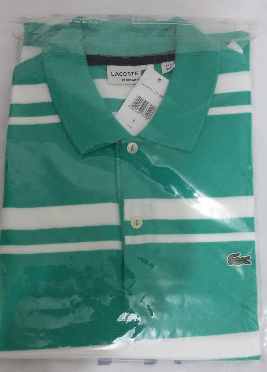 Camisa Pólo Lacoste Listrada Verde Branca Tamanho P 3 - R  300,00 em ... a20d781172