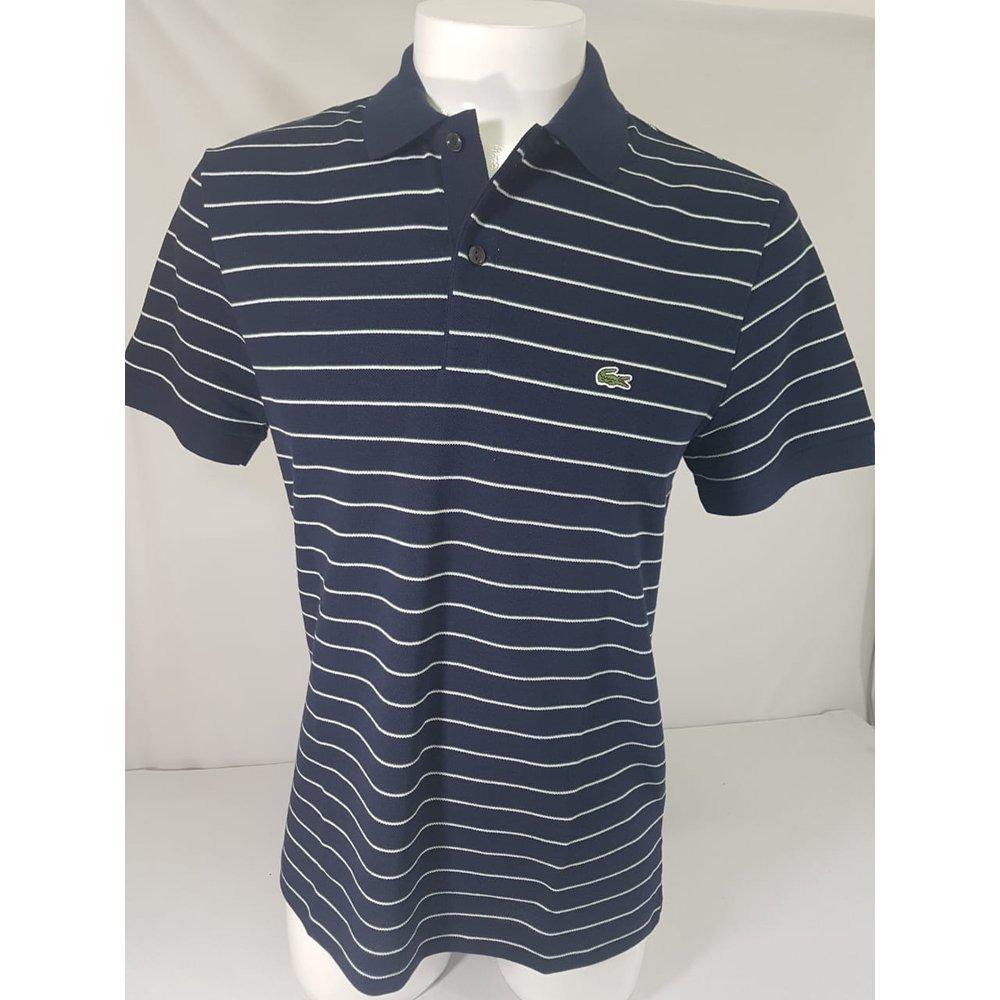 3b9a8842b1798 camisa polo lacoste listras azul marinho. Carregando zoom.