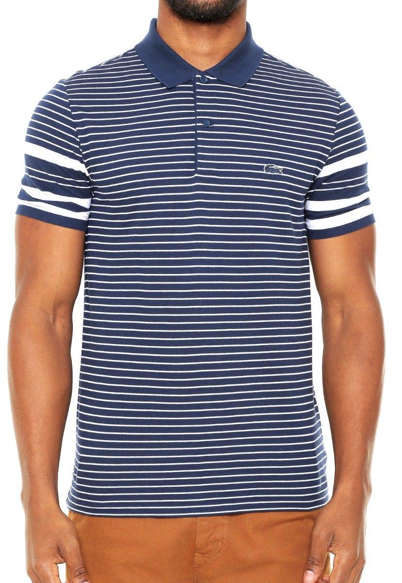 30fec7c8f354b camisa polo lacoste listras branca azul-marinho. Carregando zoom.