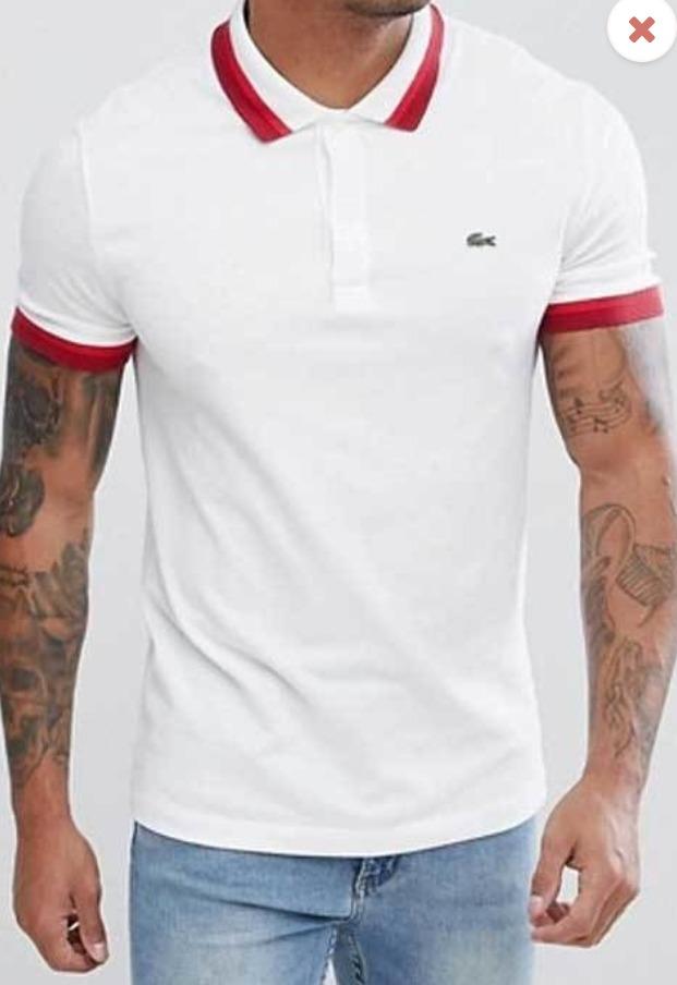 5da2b3d9848 camisa polo lacoste original branca gola vermelha. Carregando zoom.