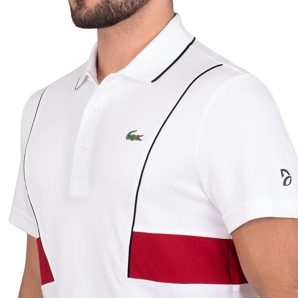 camisa polo lacoste regular fit dh3325 branca preta e vermel. Carregando  zoom. b8b7e7388c632