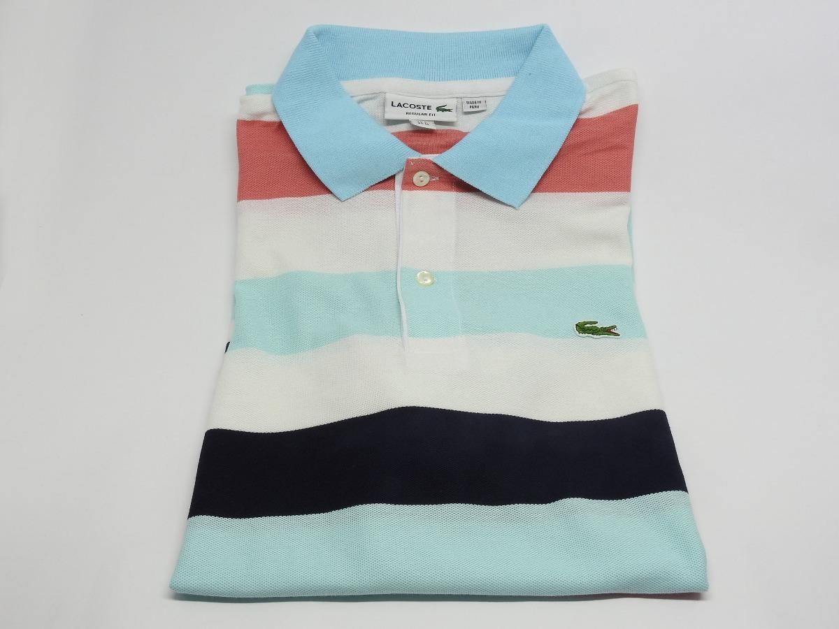 e27f7b1d017 camisa polo lacoste regular fit listradas original peruana. Carregando zoom.