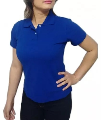 d628ae544de10 Camisa Pólo Lisa Feminino  Uniforme  Azul Marinho - R  28