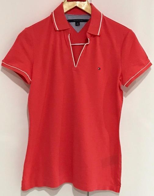 Camisa Polo Lisa Gola V Tommy Hilfiger Original Feminina - R  160 b412a24a03197