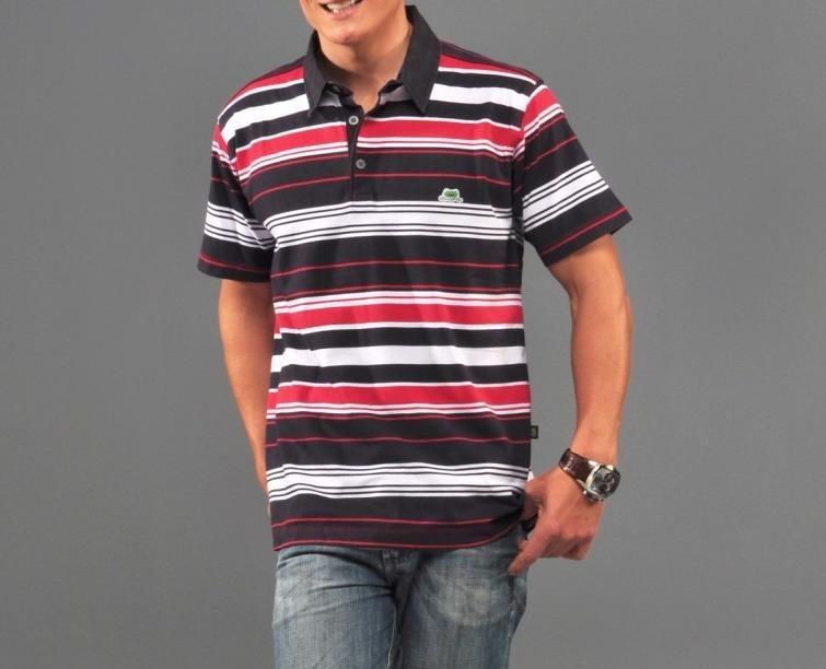 6a7a4a9999 Camisa Polo Listrada Masculina Sem Bolso Cor Preta Vermelho - R  65 ...