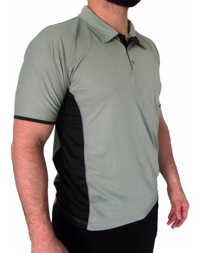 camisa pólo malha dry fit com faixa lateral malha fria
