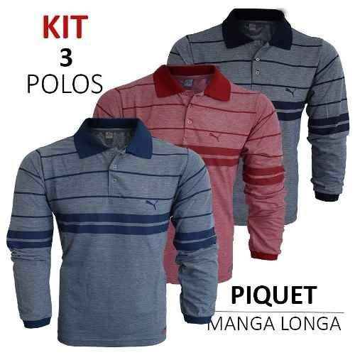 a26ad1e575 Camisa Polo Manga Longa Tecido Piquet Kit 3 Peças Promoçã - R  120 ...