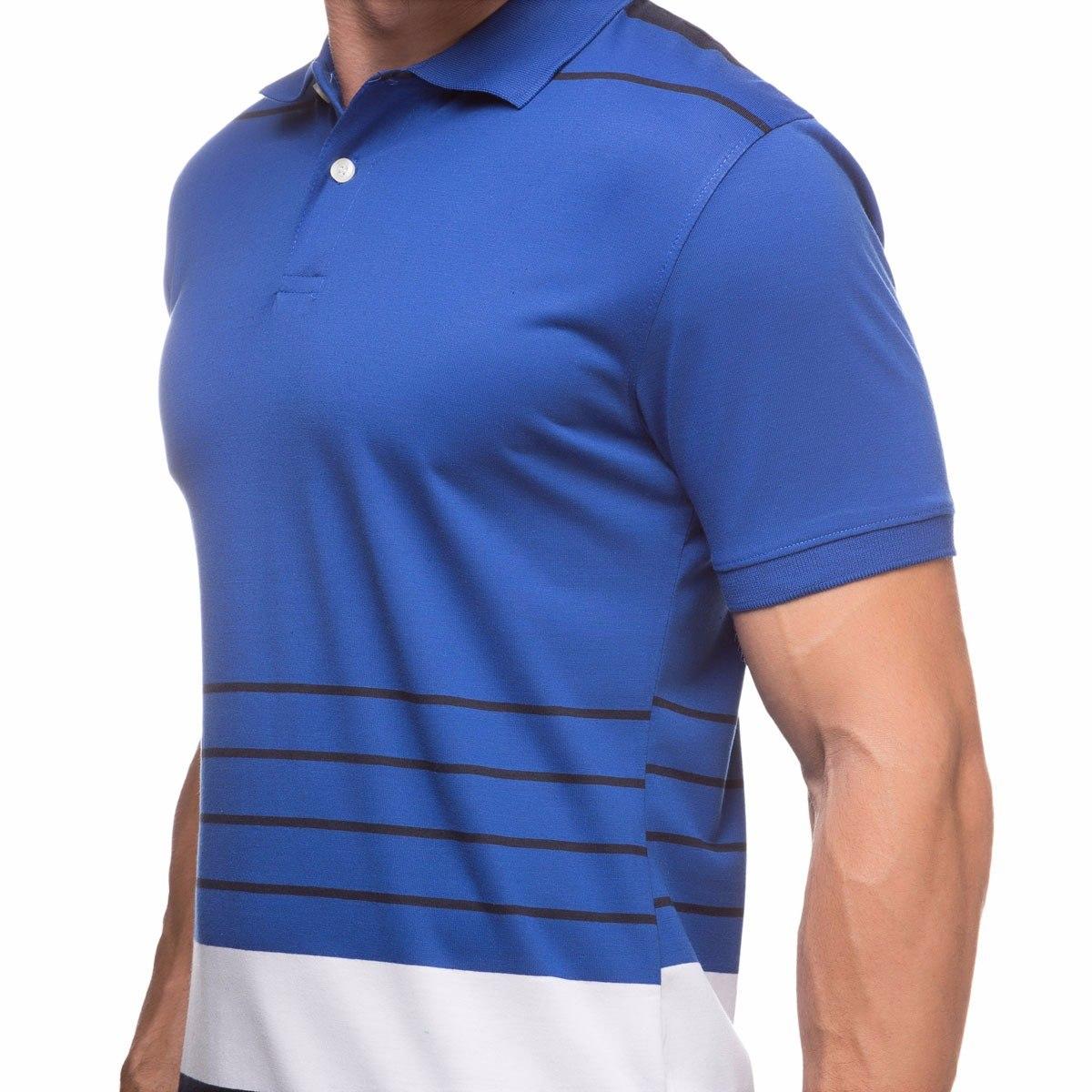 camisa polo masculina azul com listras em promoção atacado. Carregando zoom. aac9f10a19654